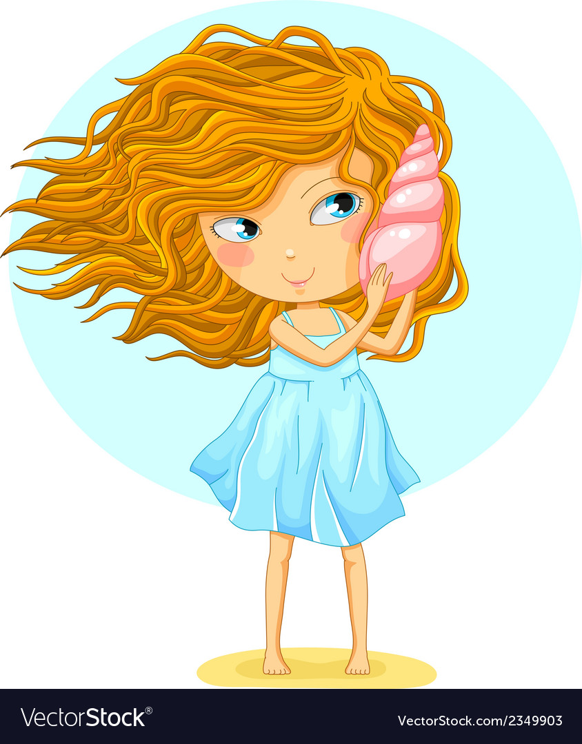 Girl with a seashell vector | Price: 1 Credit (USD $1)