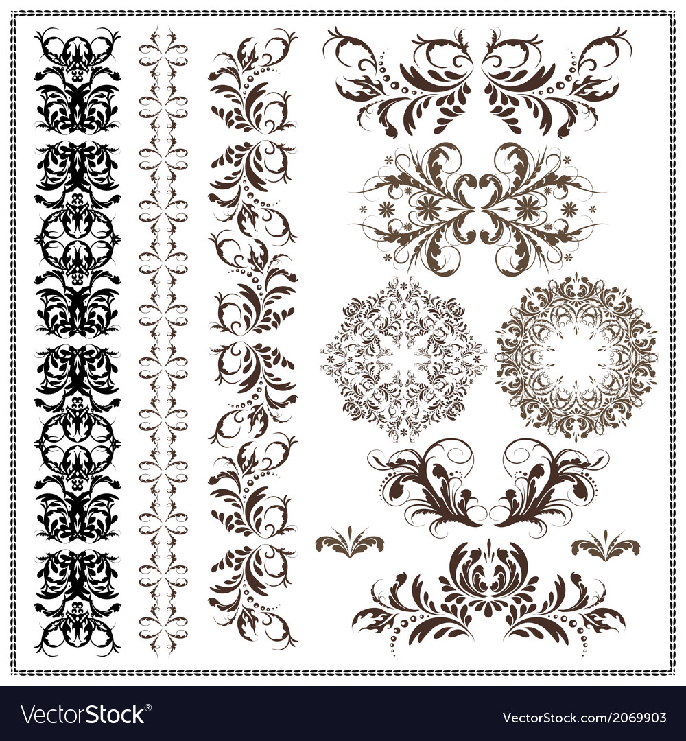 Set of calligraphic patterns vector | Price: 1 Credit (USD $1)