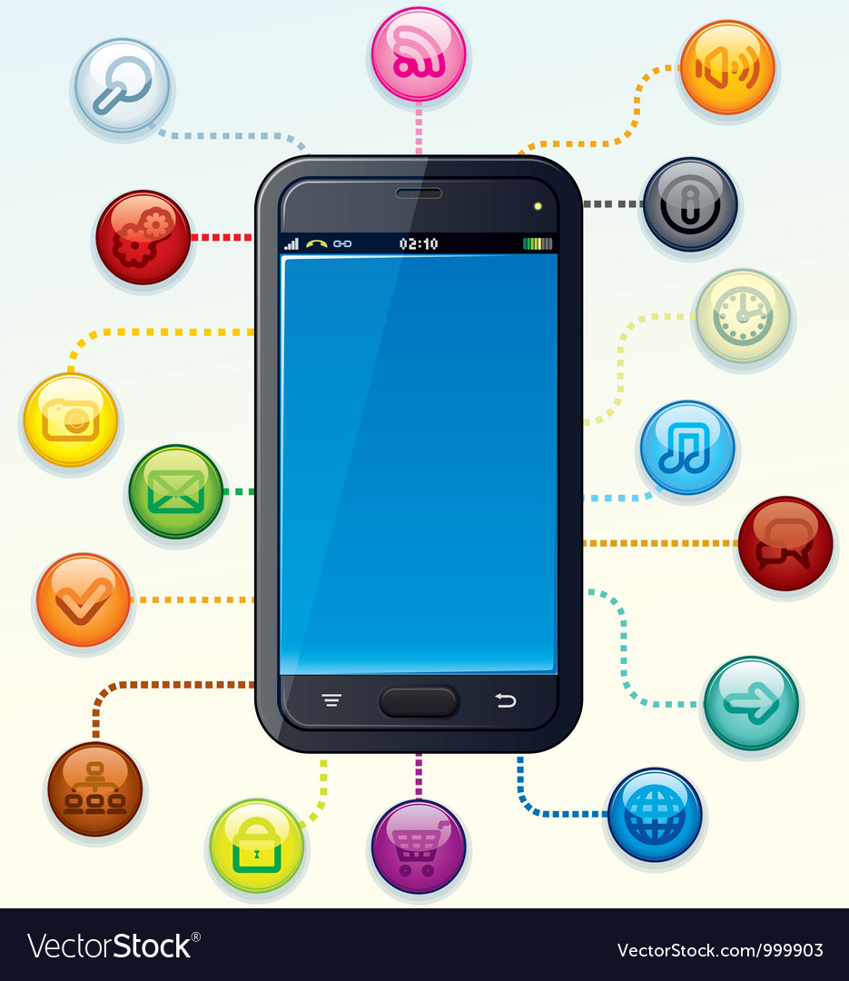 Smartphone with apps cloud vector | Price: 1 Credit (USD $1)