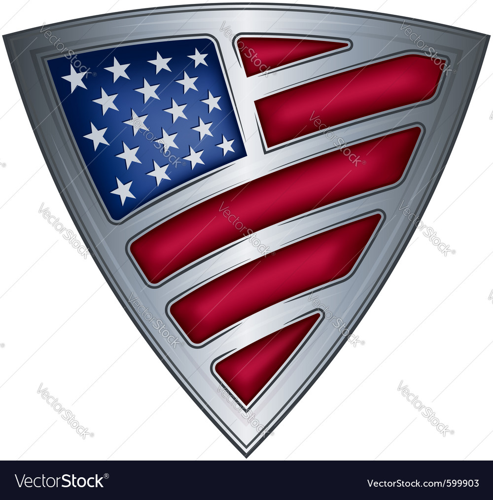 Steel shield with flag usa vector | Price: 1 Credit (USD $1)