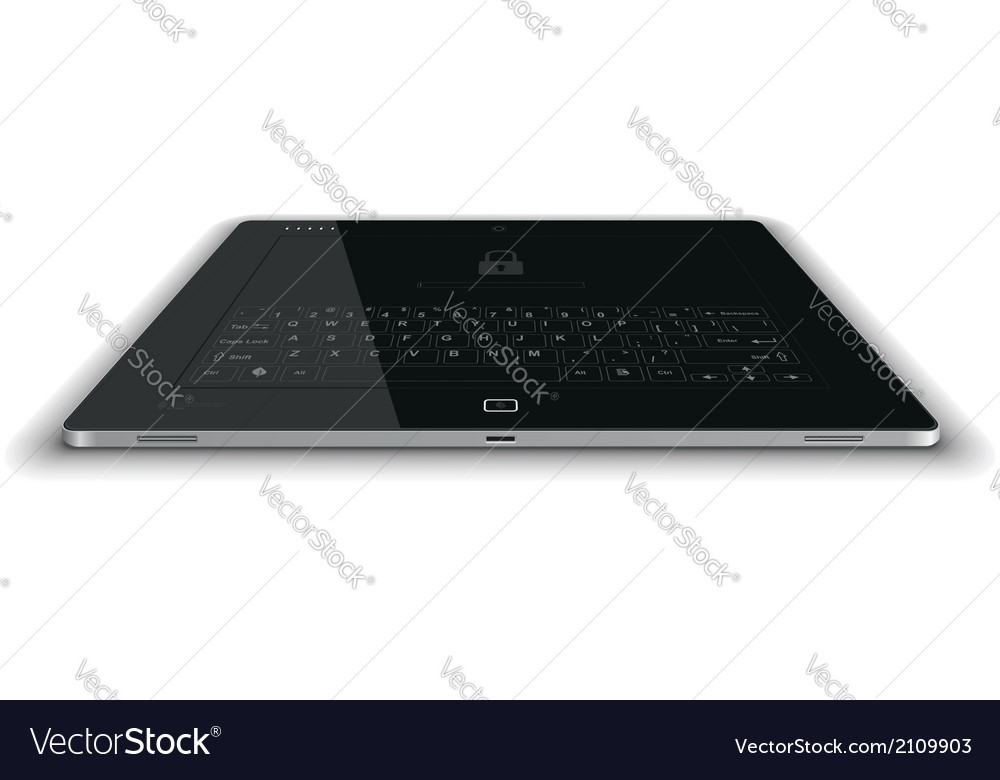 Tablet frontal view horizontal surface vector | Price: 1 Credit (USD $1)
