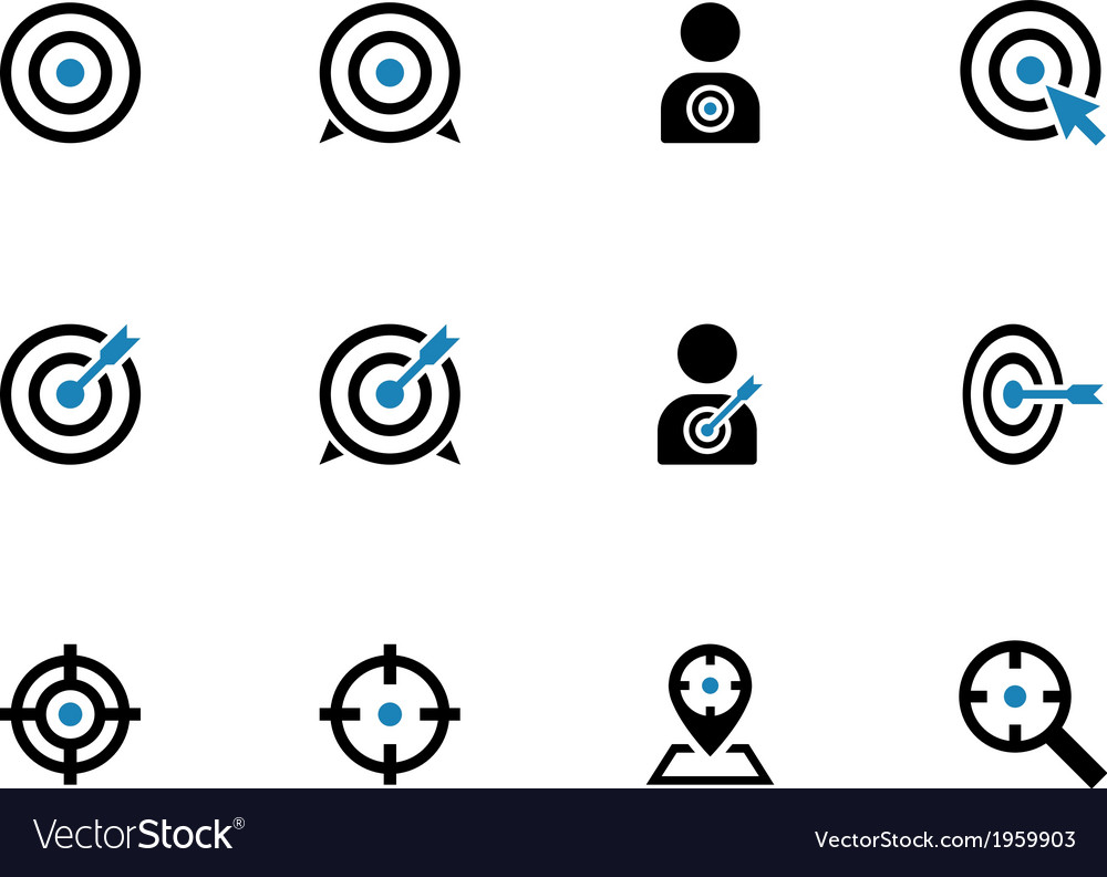 Target duotone icons on white background vector | Price: 1 Credit (USD $1)