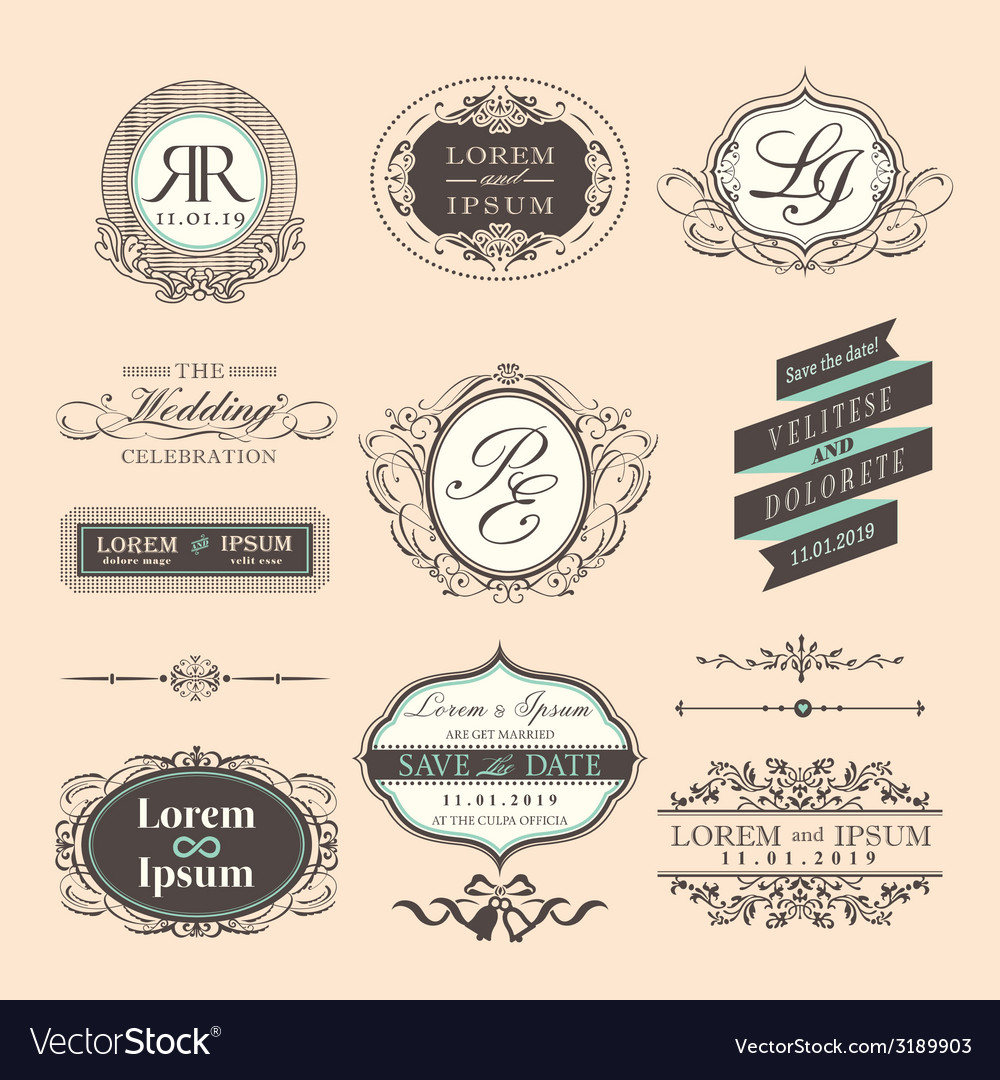 Vintage style wedding symbol border and frames vector | Price: 1 Credit (USD $1)