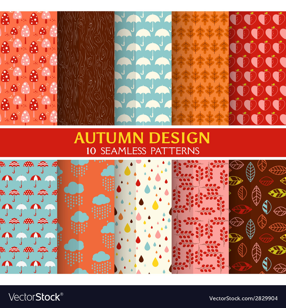 10 seamless patterns - autumn set vector | Price: 1 Credit (USD $1)