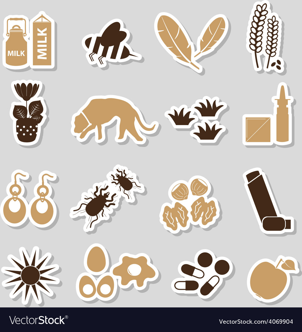 Allergy and allergens color stickers set eps10 vector | Price: 1 Credit (USD $1)