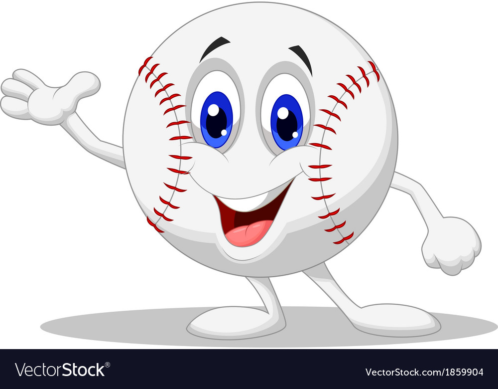 Baseball ball cartoon character vector | Price: 1 Credit (USD $1)