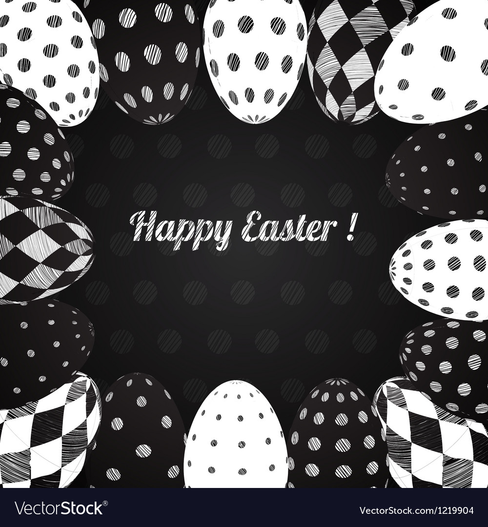 Black and white background of easter eggs vector   Price: 1 Credit (USD $1)