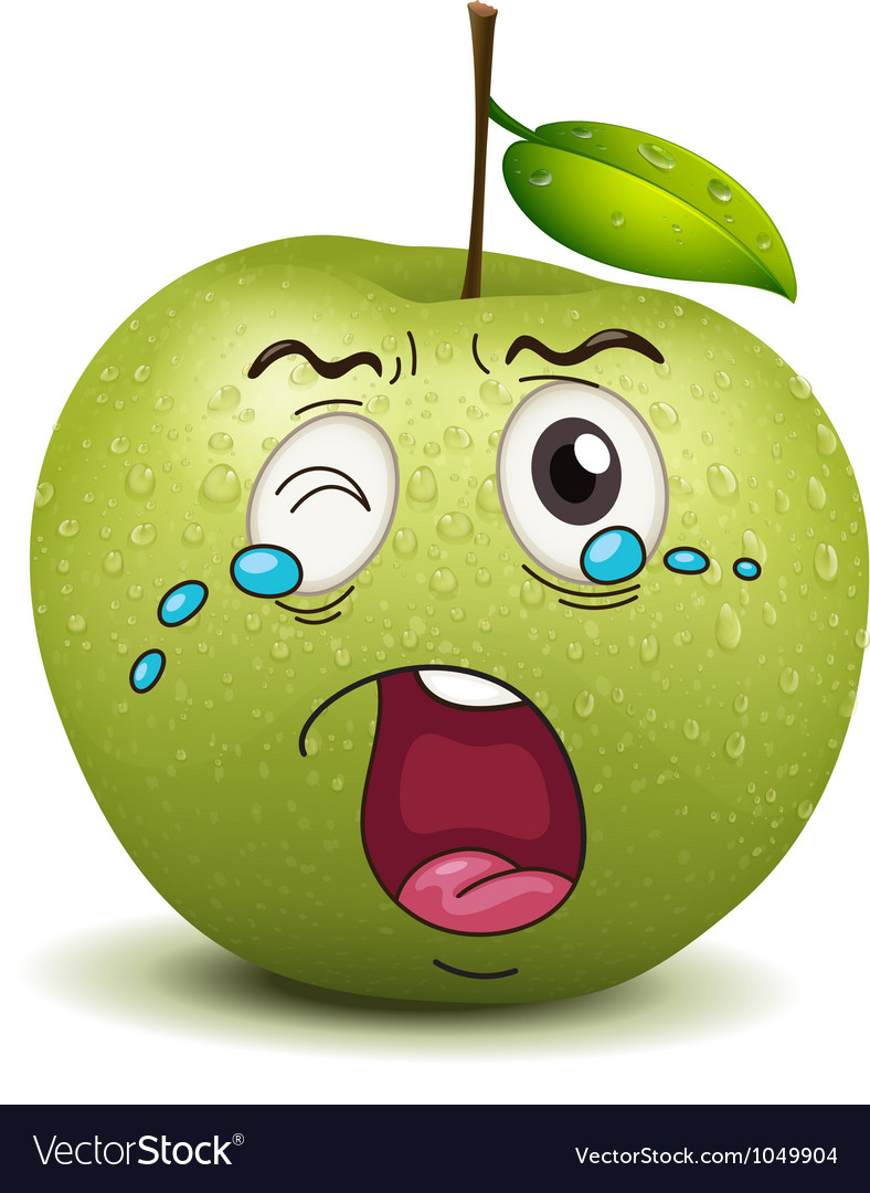 Crying apple smiley vector | Price: 1 Credit (USD $1)