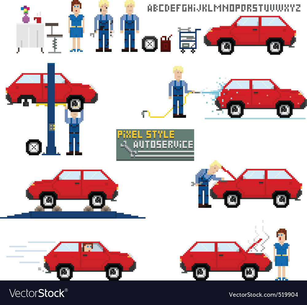 Pixel art style auto service vector | Price: 1 Credit (USD $1)