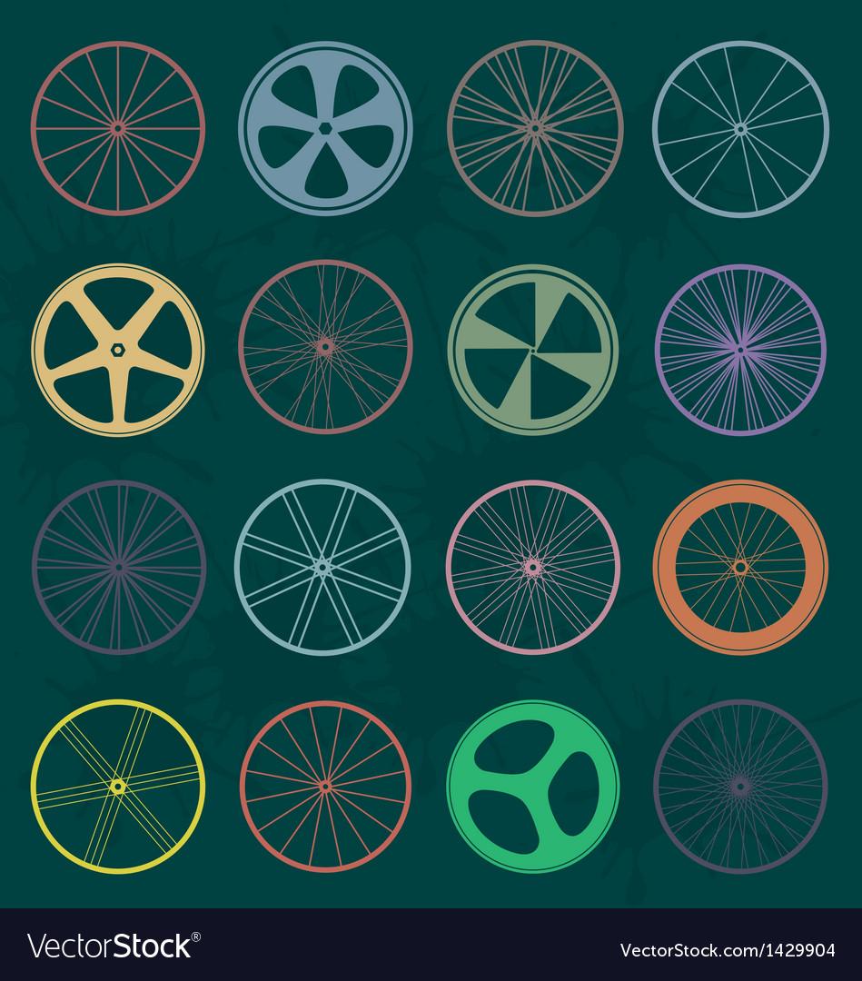 Retro style bike wheel silhouettes vector | Price: 1 Credit (USD $1)