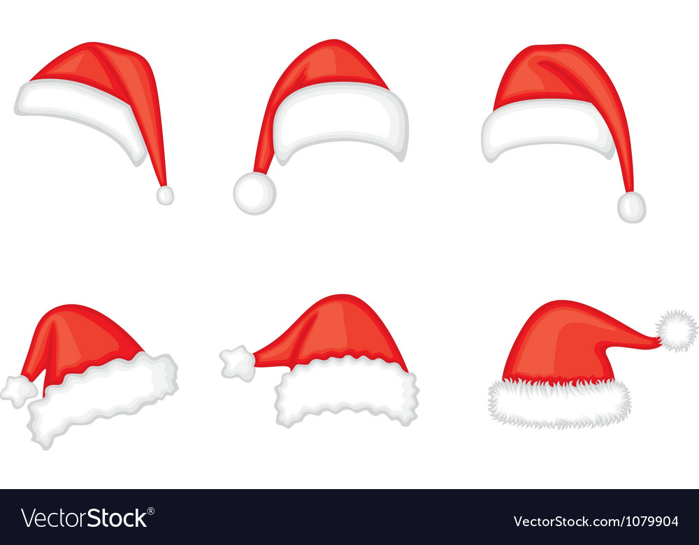 Santa cap set vector | Price: 1 Credit (USD $1)
