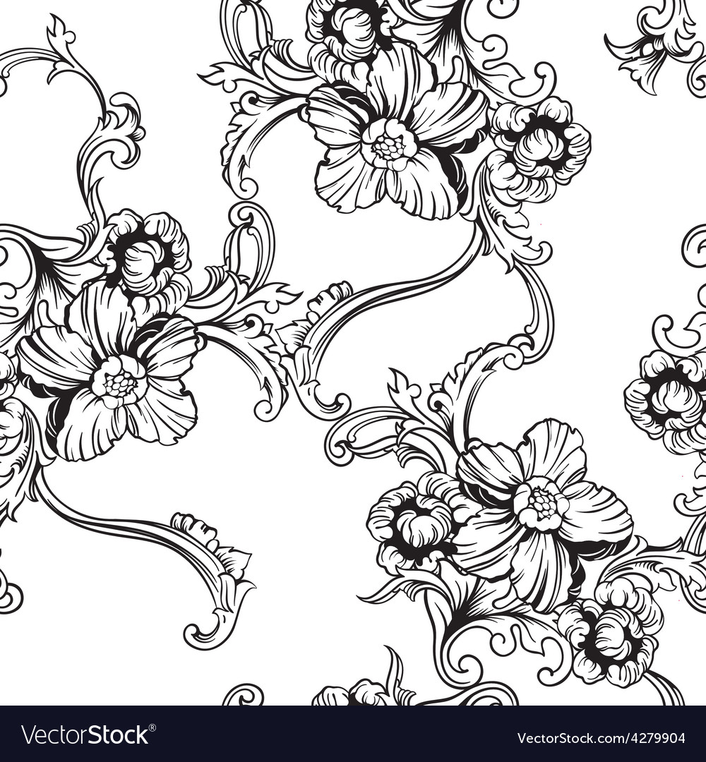 Seamless background baroque pattern vector | Price: 1 Credit (USD $1)