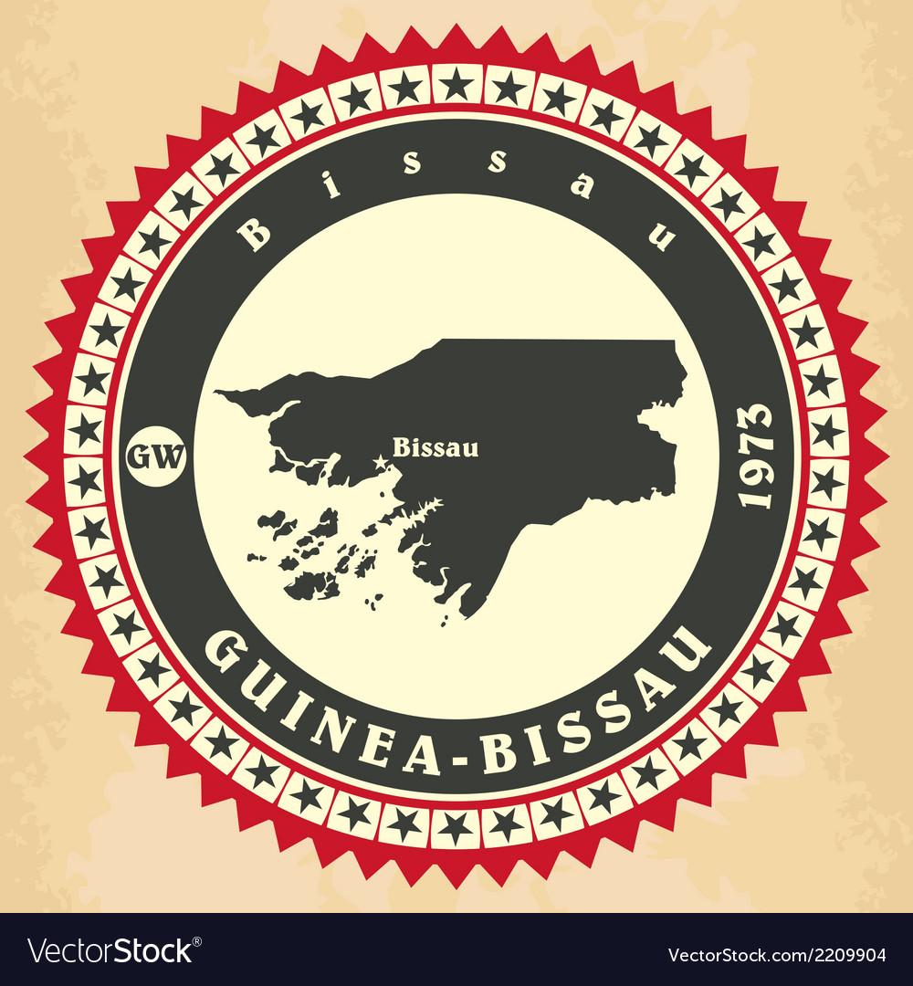 Vintage label-sticker cards of guinea-bissau vector | Price: 1 Credit (USD $1)