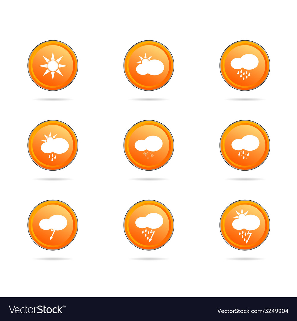 Weather icon button color vector | Price: 1 Credit (USD $1)