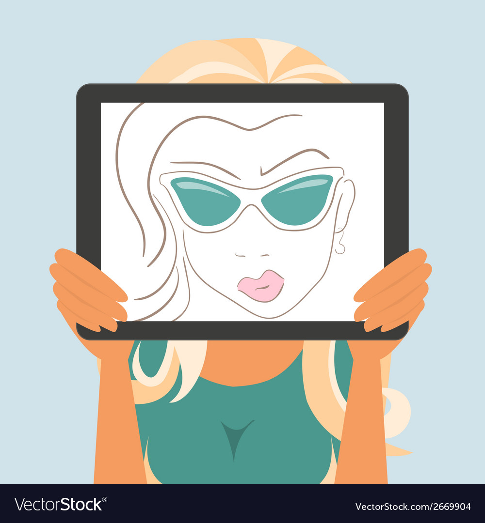 Woman holds tablet pc displaying fashion drawing vector | Price: 1 Credit (USD $1)