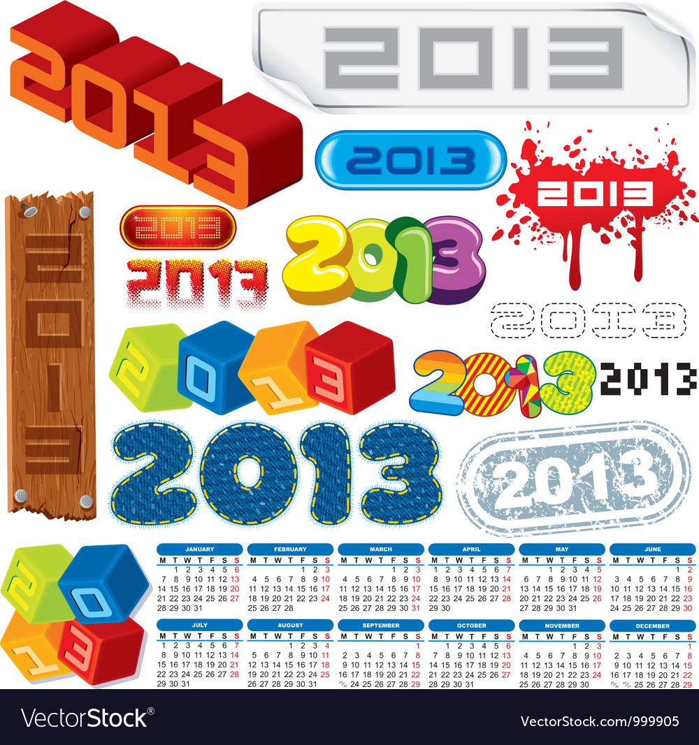 2013 logo collection and calendar vector | Price: 1 Credit (USD $1)