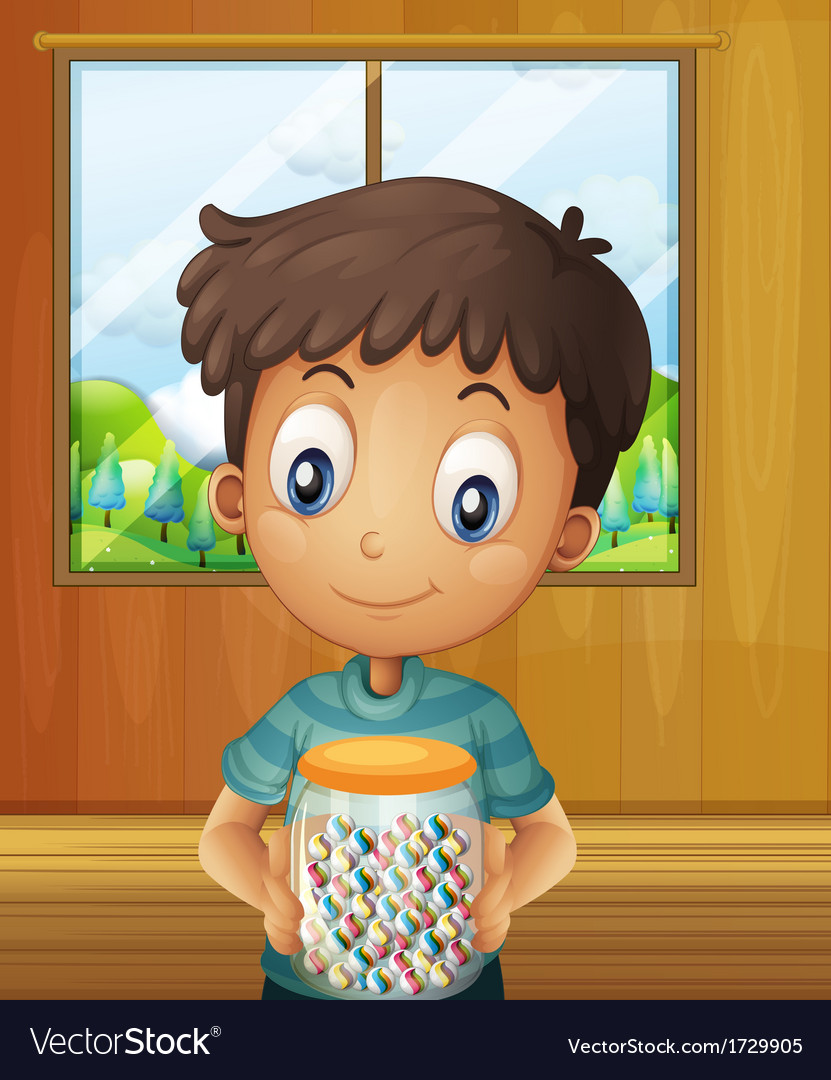 A boy holding a jar of candy balls vector | Price: 1 Credit (USD $1)