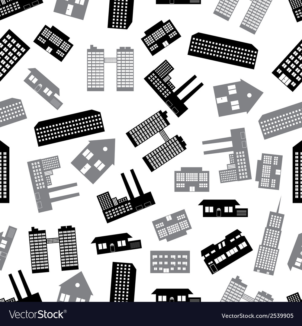 Buildings and houses seamless pattern eps10 vector | Price: 1 Credit (USD $1)