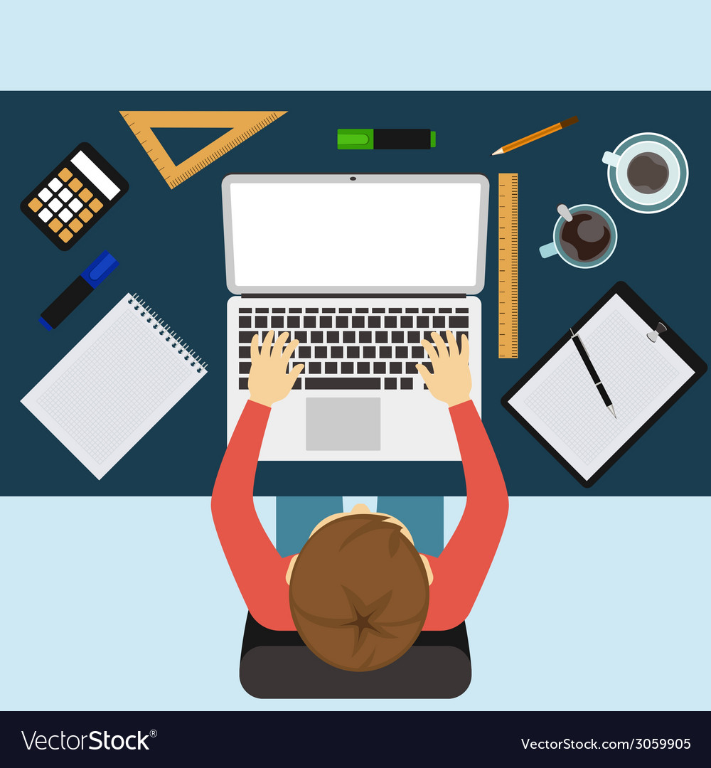 Business man working with laptop and documents vector