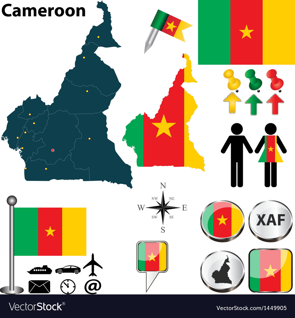 Cameroon map small vector | Price: 1 Credit (USD $1)