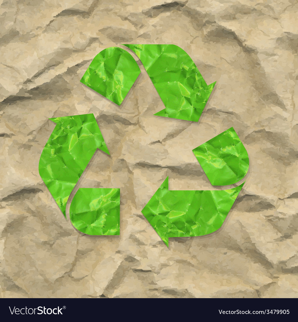 Cardboard crushed paper with recycle sign vector | Price: 1 Credit (USD $1)
