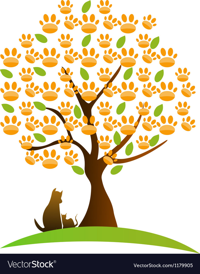 Cat  dog and footprint tree logo vector | Price: 1 Credit (USD $1)