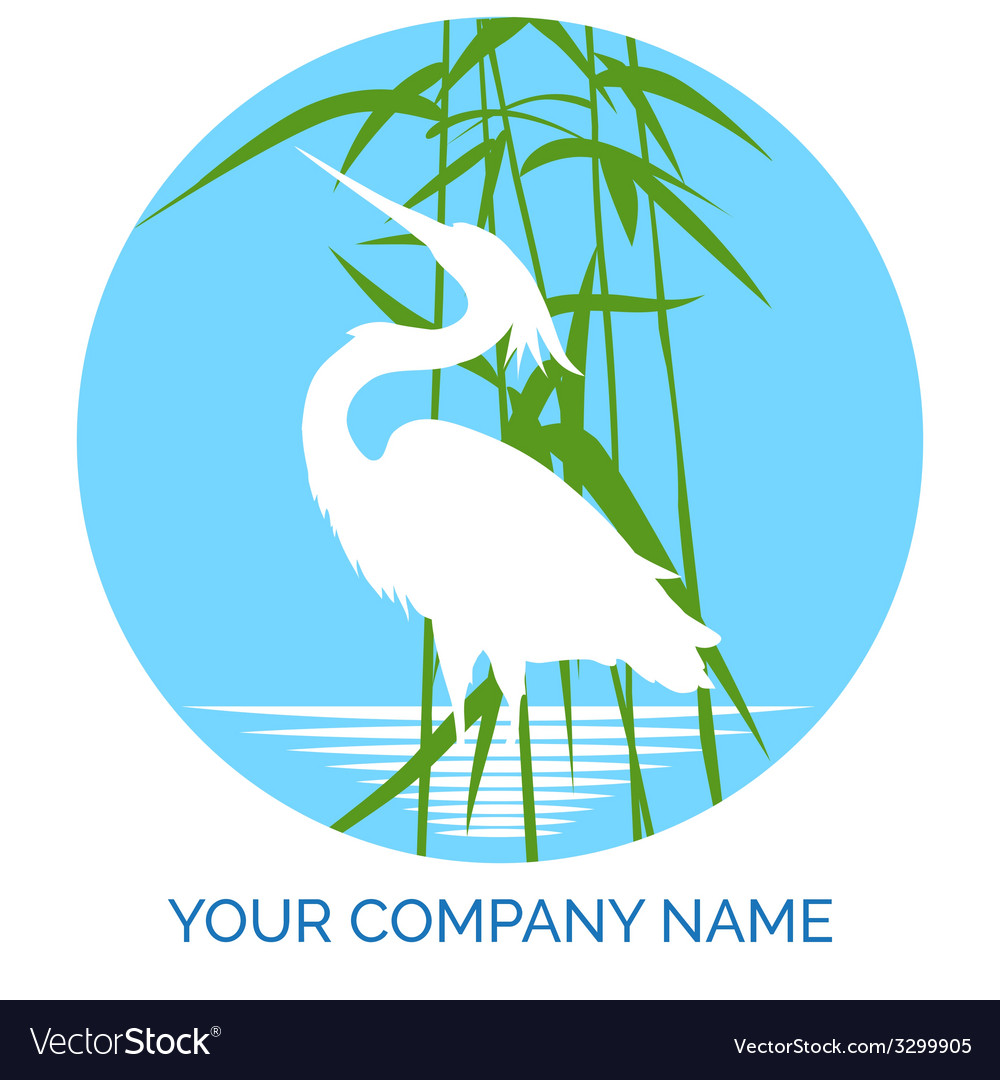 Conservation company logo design with heron vector | Price: 1 Credit (USD $1)