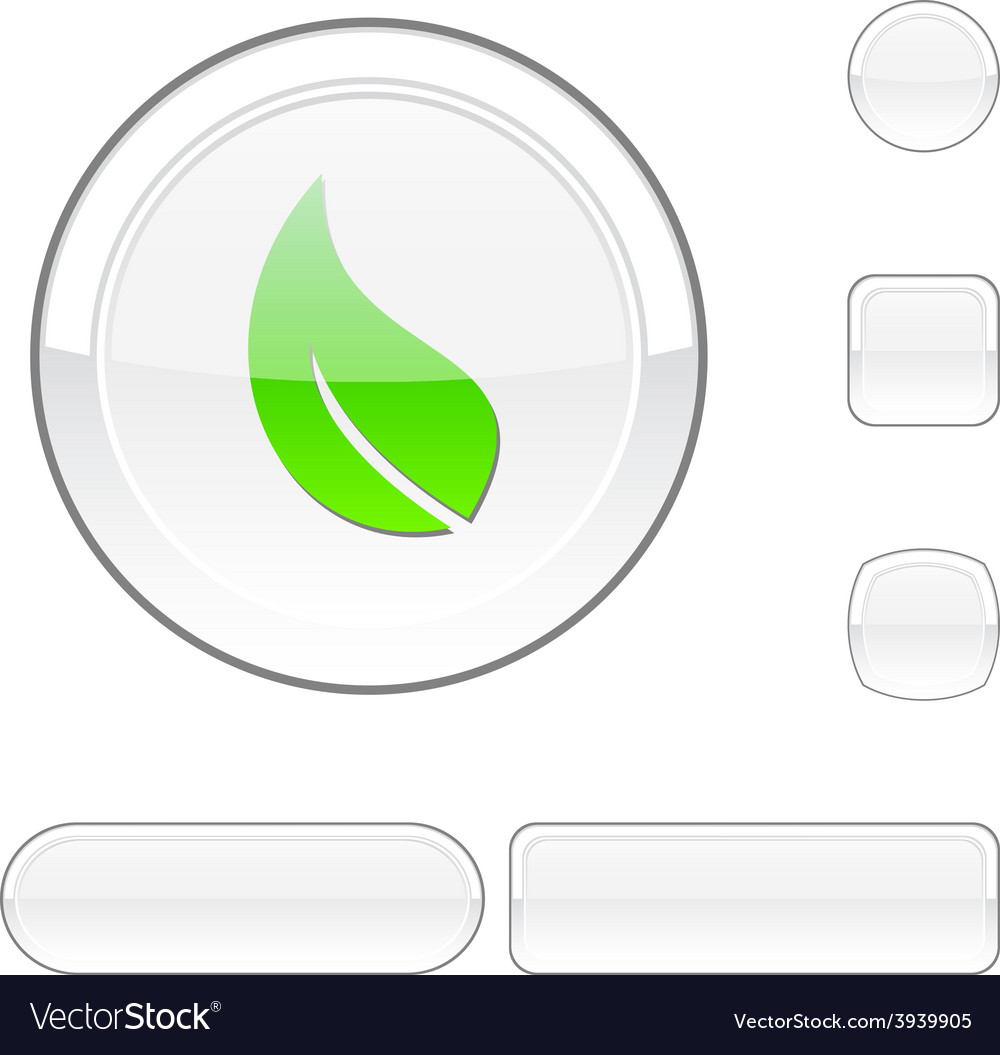 Ecology white button vector   Price: 1 Credit (USD $1)
