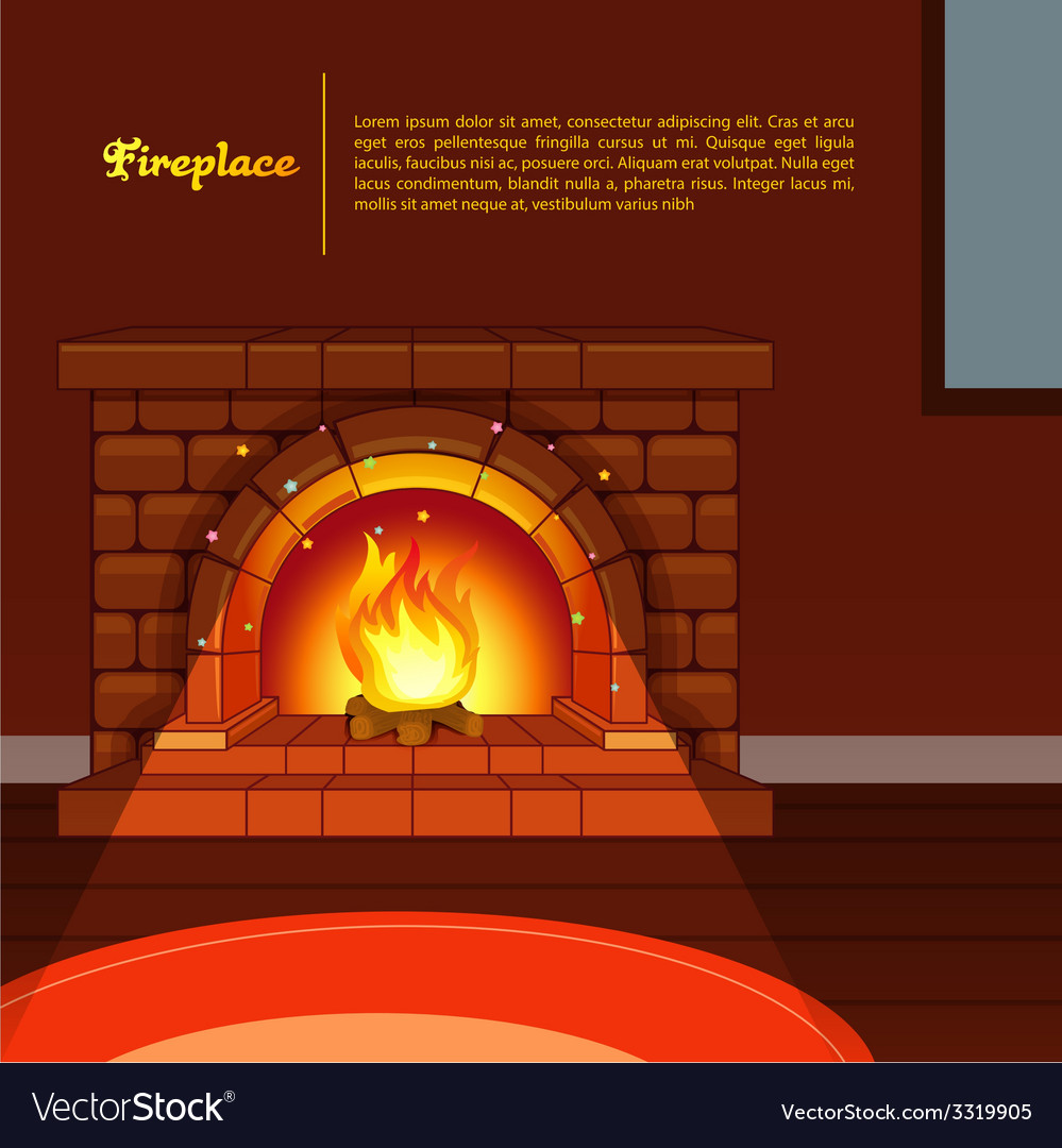 Fireplace image in room vector | Price: 3 Credit (USD $3)