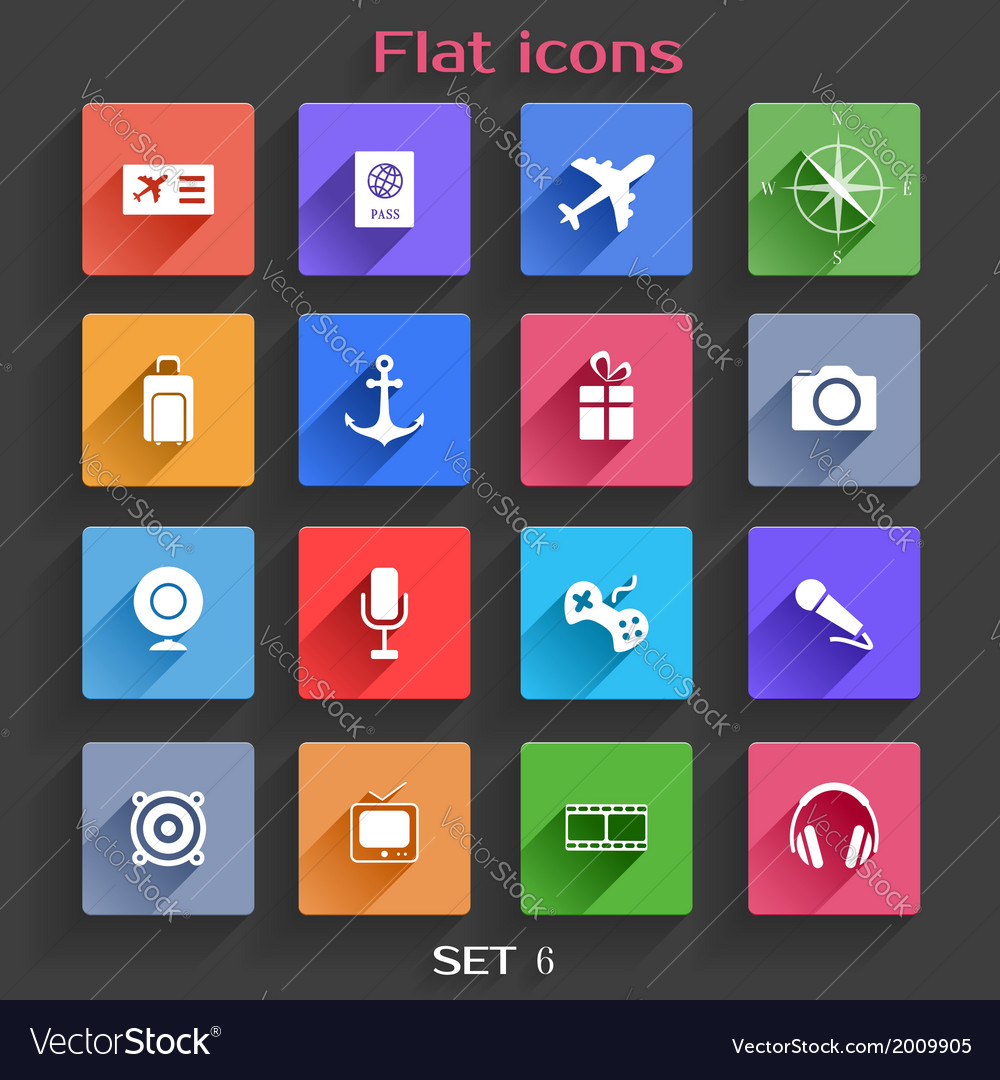 Flat application icons set 6 vector | Price: 1 Credit (USD $1)