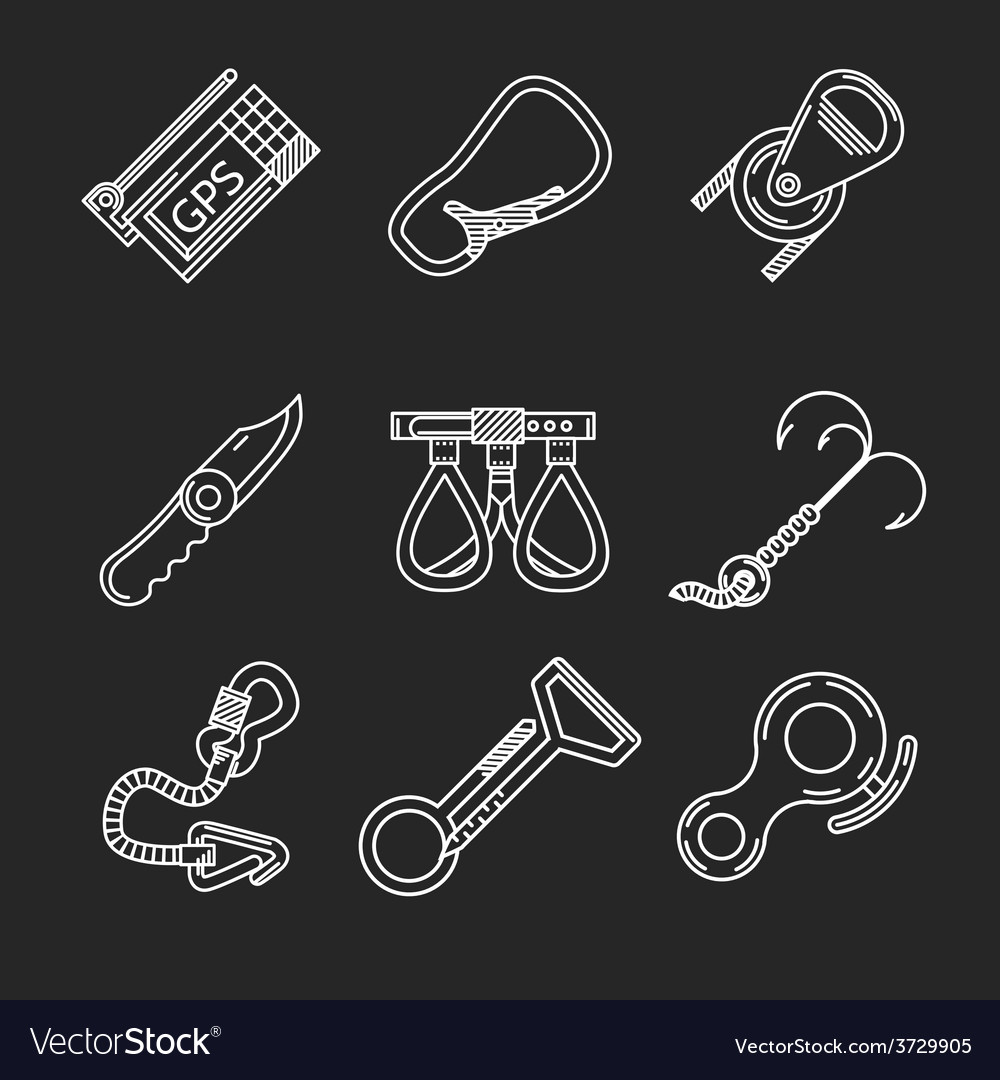 Flat line icons for rock climbing vector | Price: 1 Credit (USD $1)