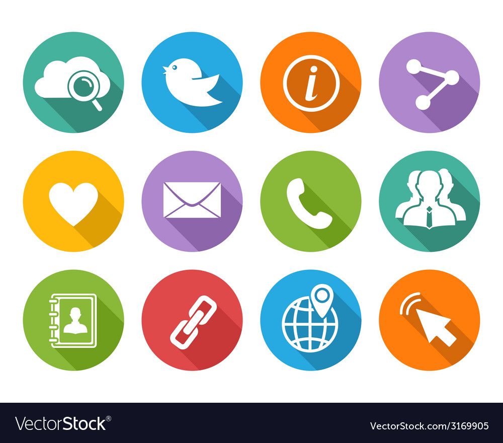 Flat social network icons set with long shadow vector | Price: 1 Credit (USD $1)