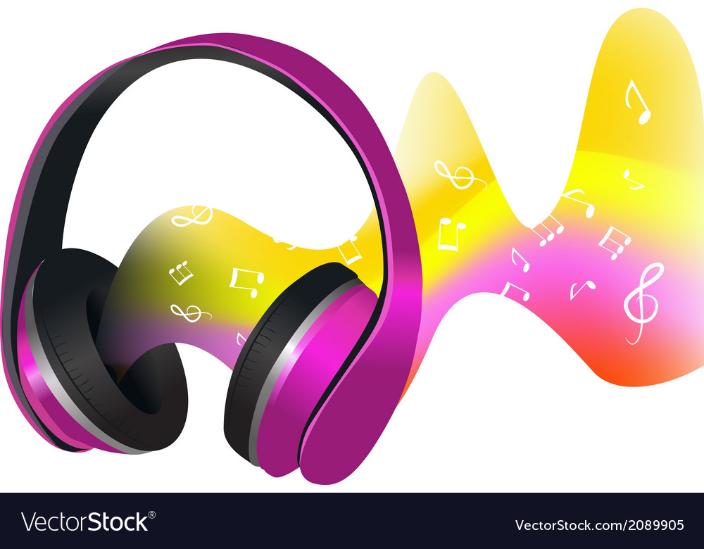 Headphones and soundwaves vector | Price: 1 Credit (USD $1)