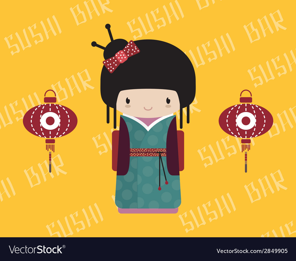 Kokeshi doll in kimono with traditional asian vector | Price: 1 Credit (USD $1)