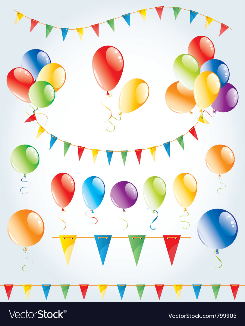 Party decoration set vector | Price: 1 Credit (USD $1)