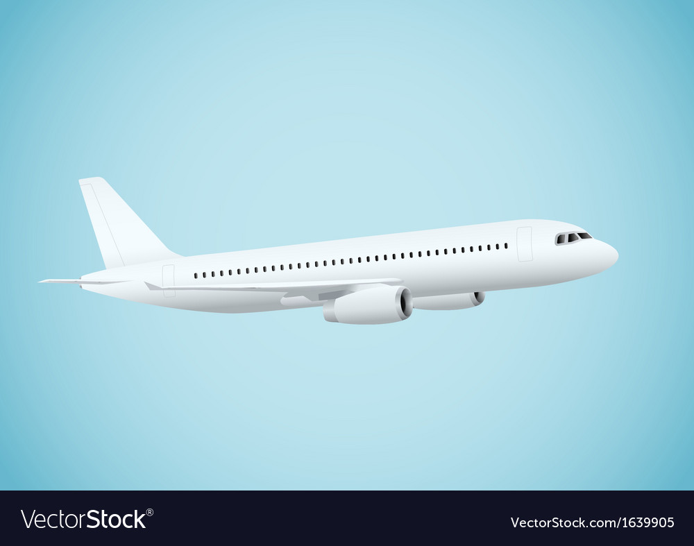 Plane in blue background vector | Price: 1 Credit (USD $1)