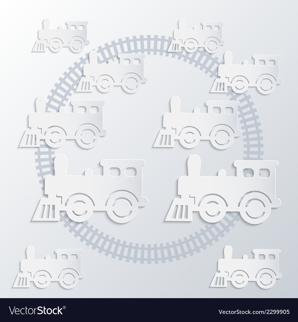 Steam locomotives and circle of railroad vector | Price: 1 Credit (USD $1)