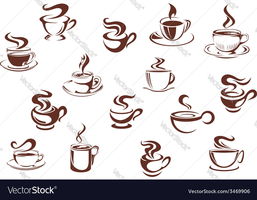 Assorted brown cups of hot coffee vector | Price: 1 Credit (USD $1)