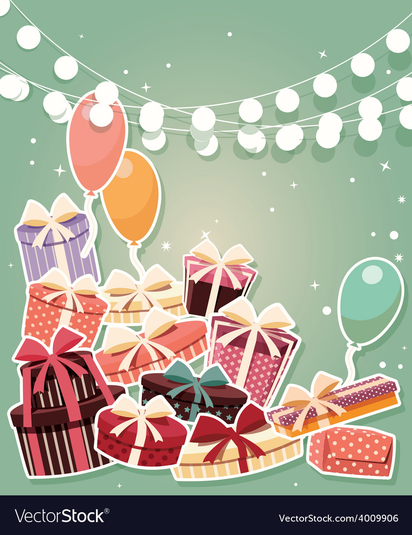 Birthday background with sticker presents balloons vector   Price: 3 Credit (USD $3)