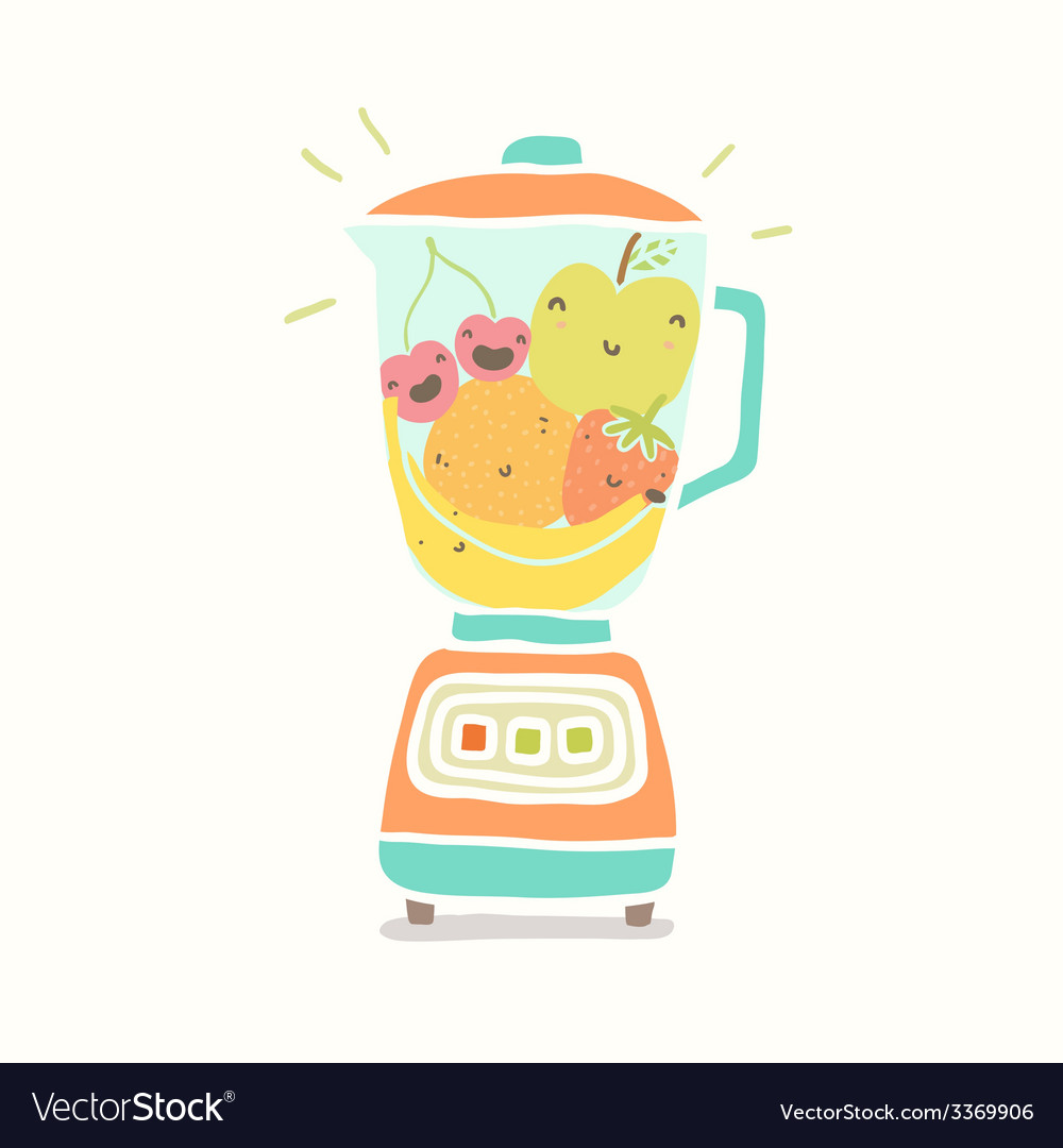 Blender full of funny fruits vector | Price: 1 Credit (USD $1)