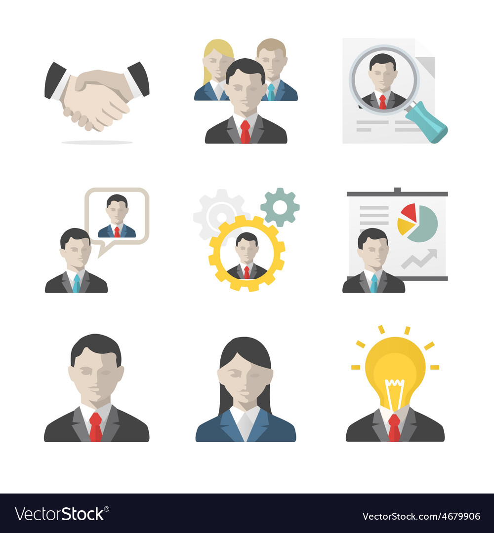 Business people icon set vector | Price: 1 Credit (USD $1)