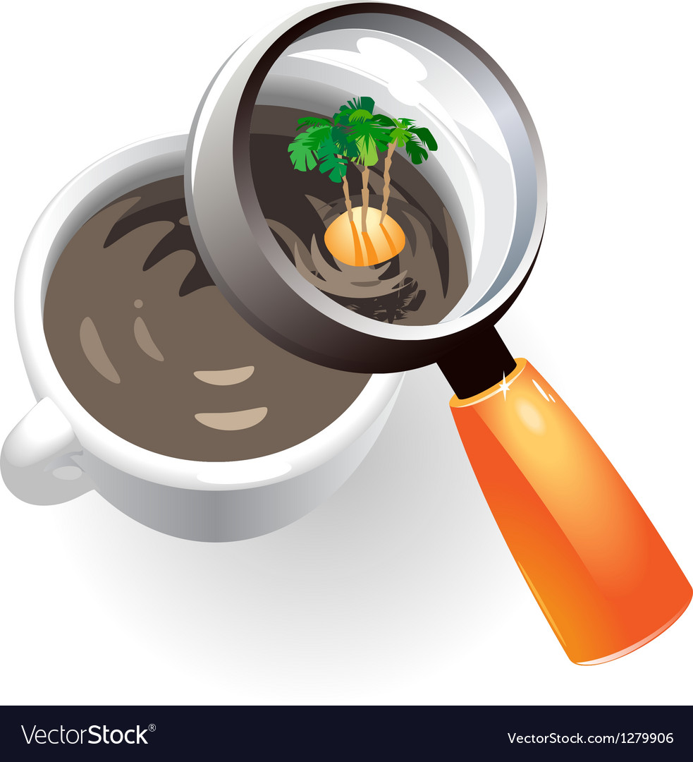Coffee cup with tropic island vector | Price: 1 Credit (USD $1)