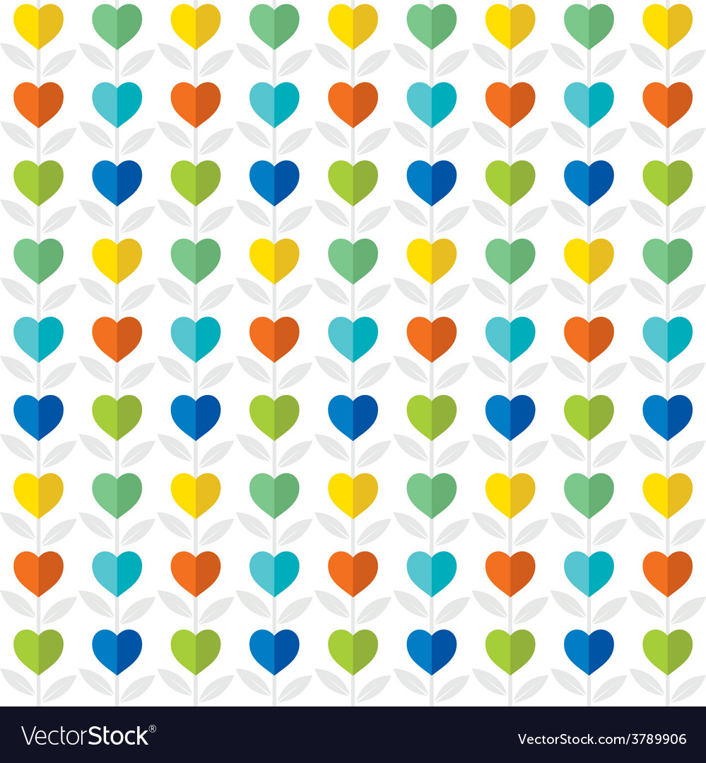 Colorful heart pattern plant background design vector | Price: 1 Credit (USD $1)