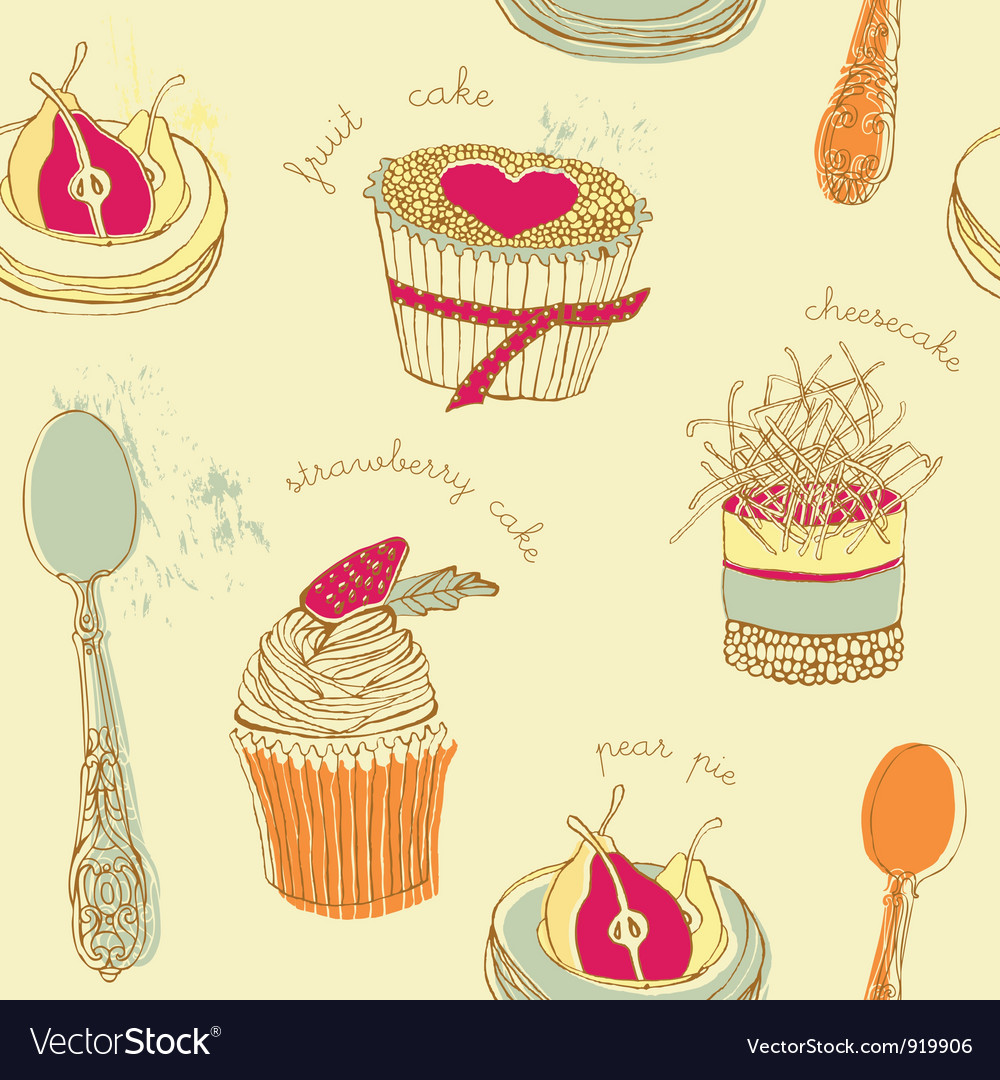 Cupcake pattern background vector | Price: 1 Credit (USD $1)