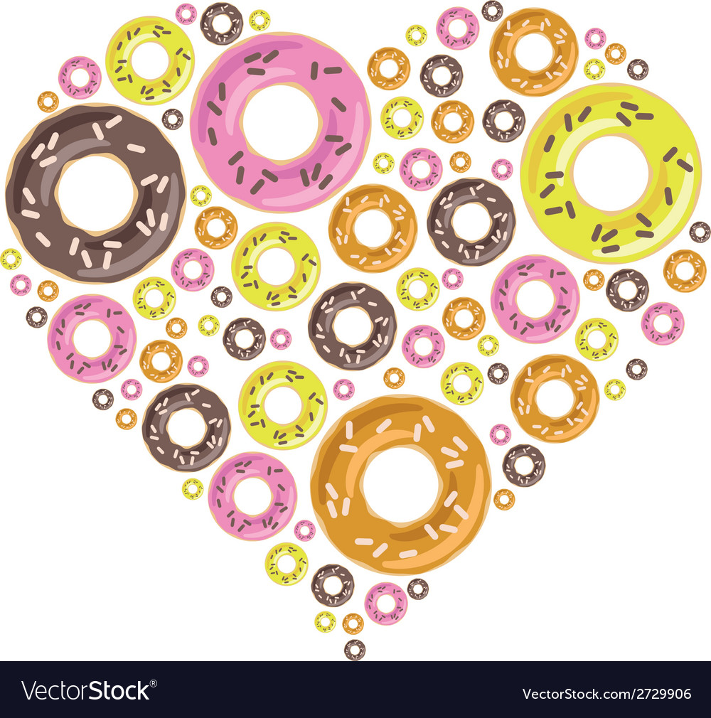 Donuts in heart vector | Price: 1 Credit (USD $1)