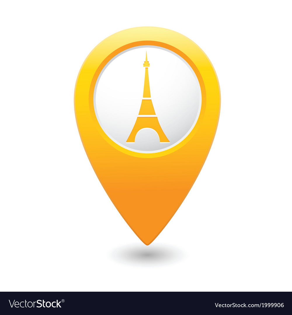 Eifel tower icon on map pointer yellow vector   Price: 1 Credit (USD $1)