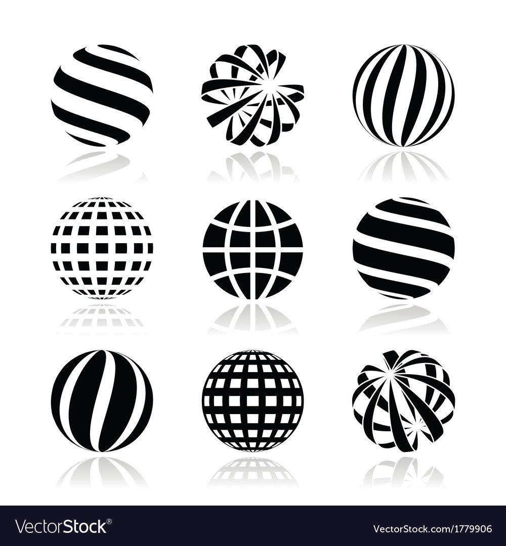 Globe sphere earth icons set vector | Price: 1 Credit (USD $1)