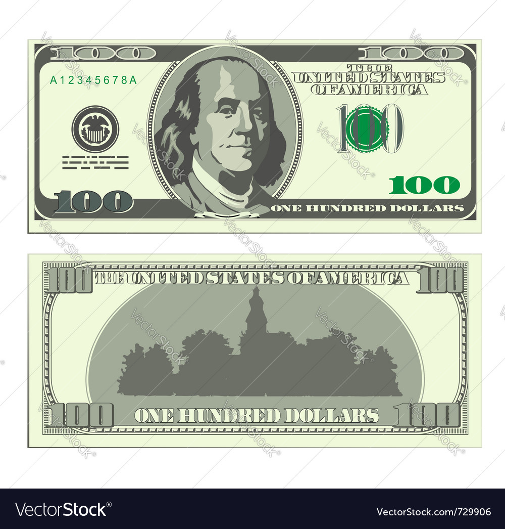 Hundred dollar banknote vector | Price: 1 Credit (USD $1)