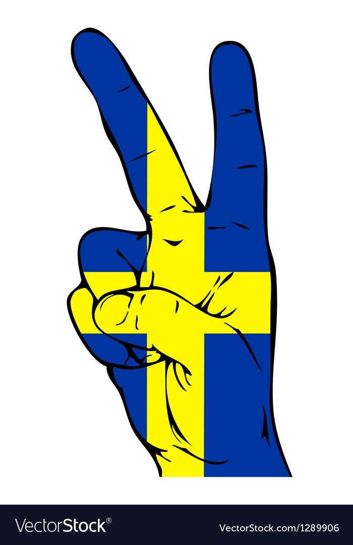 Peace sign of the swedish flag vector | Price: 1 Credit (USD $1)