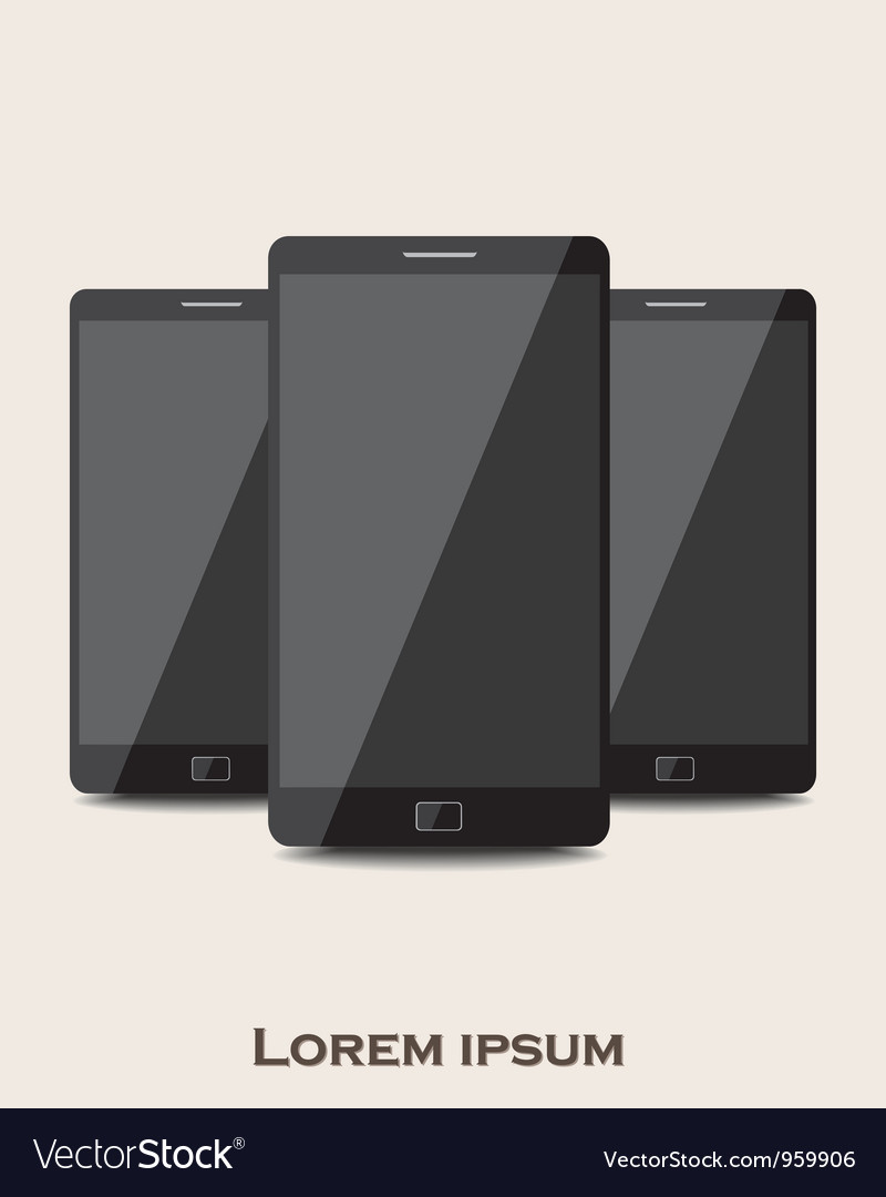Three mobile phones vector | Price: 1 Credit (USD $1)